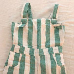 Girls Striped Linen Jumpsuit